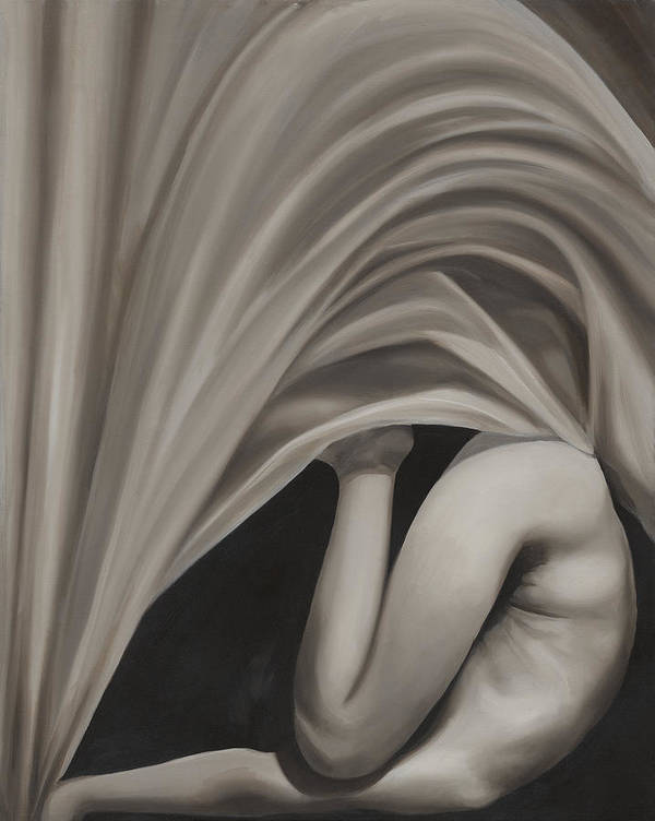 Monochromatic Art Print featuring the painting Under Cover by Katherine Huck Fernie Howard