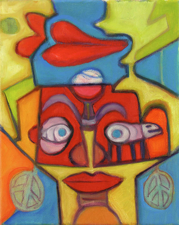Fun Art Art Print featuring the painting Upside-down by Pam Baker