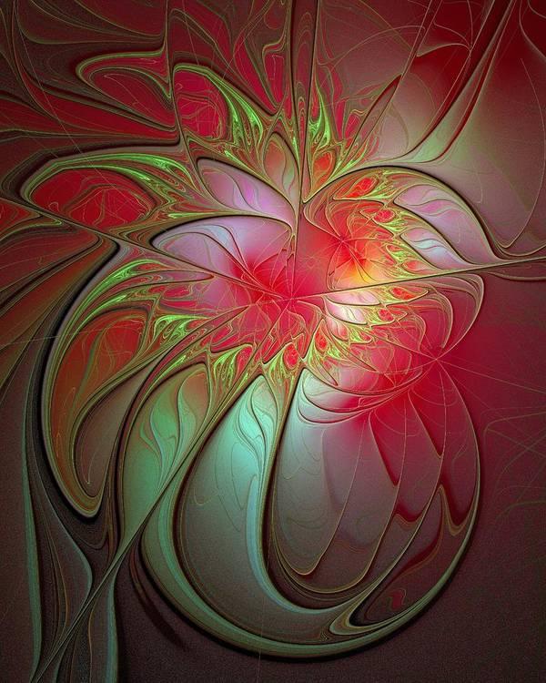 Digital Art Art Print featuring the digital art Vase Of Flowers by Amanda Moore