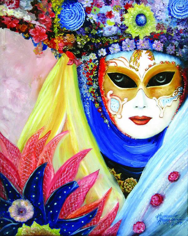 Italy Art Print featuring the painting venetian carneval mask IV by Leonardo Ruggieri