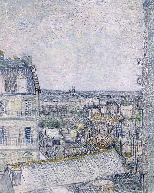 View Art Print featuring the painting View From Vincent's Room In The Rue Lepic by Vincent van Gogh