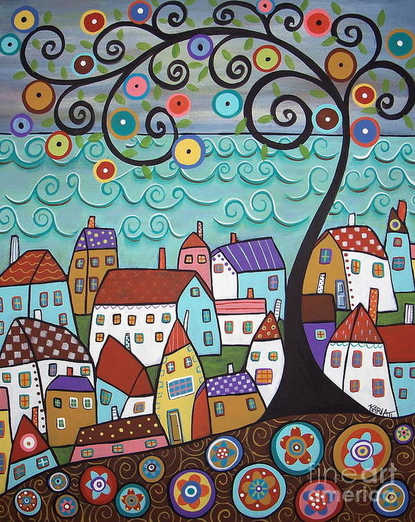 Seascape Art Print featuring the painting Village By The Sea by Karla Gerard