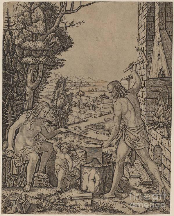 Art Print featuring the drawing Vulcan, Venus, And Eros by Marcantonio Raimondi