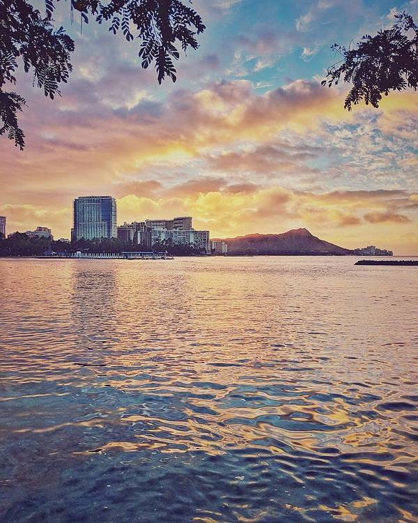Sunrise Art Print featuring the photograph Waikiki Sunrise by Jason Keinigs