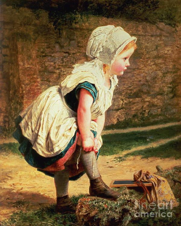 Children;victorian;women Artists;bonnet;fillette;ardoise Art Print featuring the painting Wait For Me by Sophie Anderson