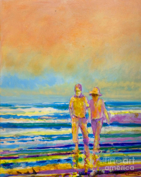Lovers Art Print featuring the painting Walking Together by Kip Decker