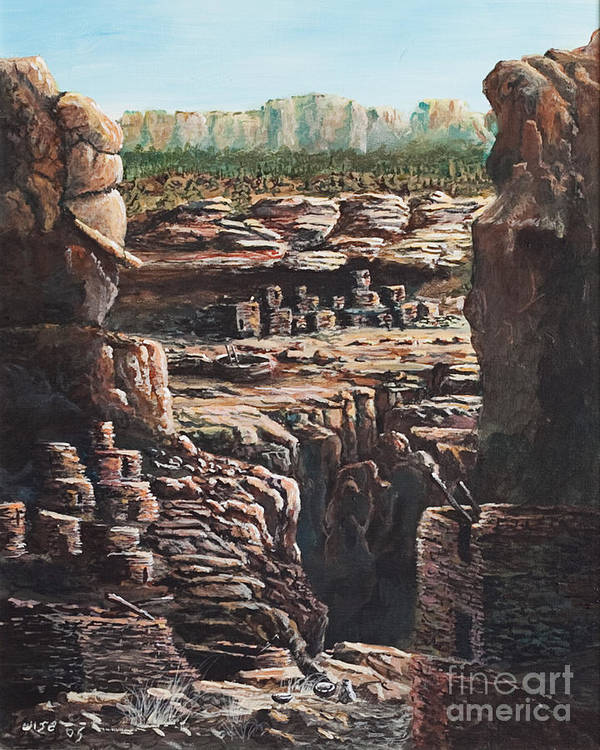 Anasazi Ruins Art Print featuring the painting Walnut Canyon by John Wise