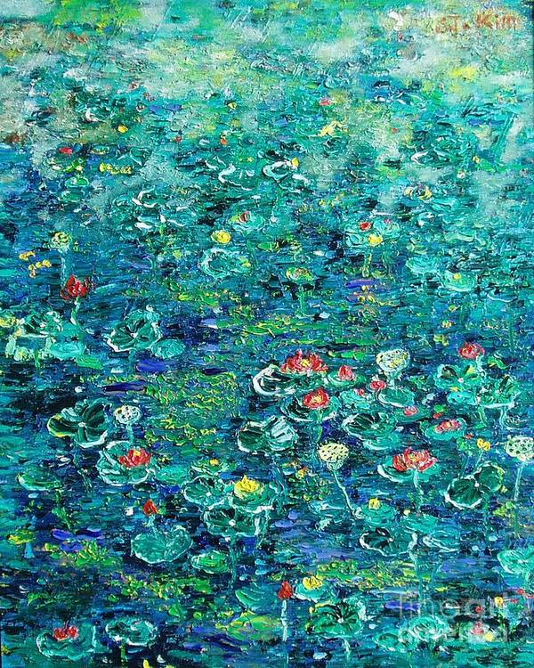 Water Lily Paintings Art Print featuring the painting Water Lilies Lily Pad Lotus Water Lily Paintings by Seon-Jeong Kim