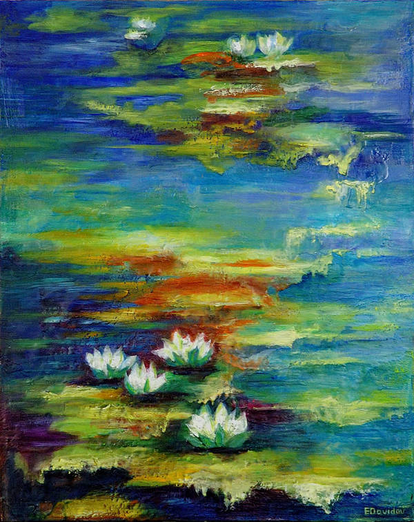 Water Art Print featuring the painting Water Lilies No 3. by Evgenia Davidov