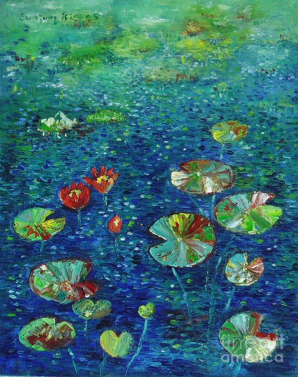 Lotus Paintings Art Print featuring the painting Water Lily Lotus Lily Pads Paintings by Seon-Jeong Kim