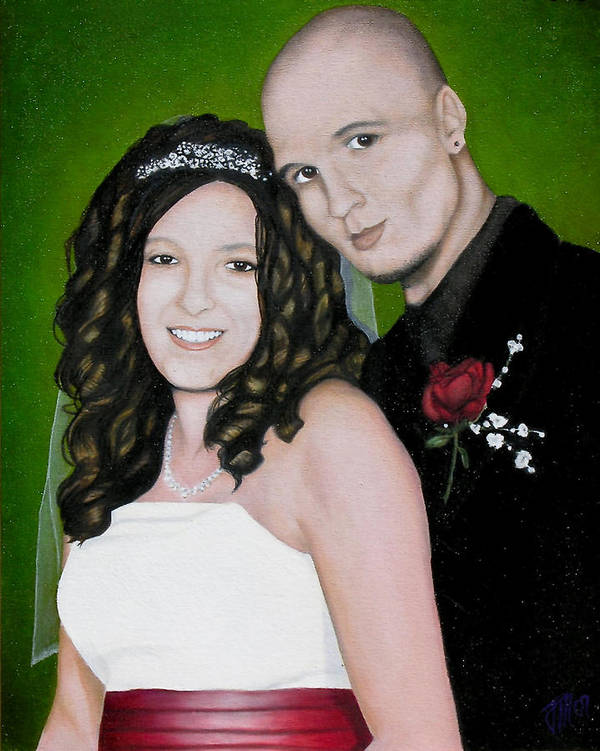 Portrait Art Print featuring the painting Wedding Portrait Of Clint And Ashley by Joe Michelli