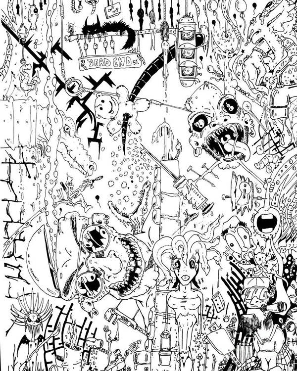 Computer Art Print featuring the drawing What A Mess by Jack Norton