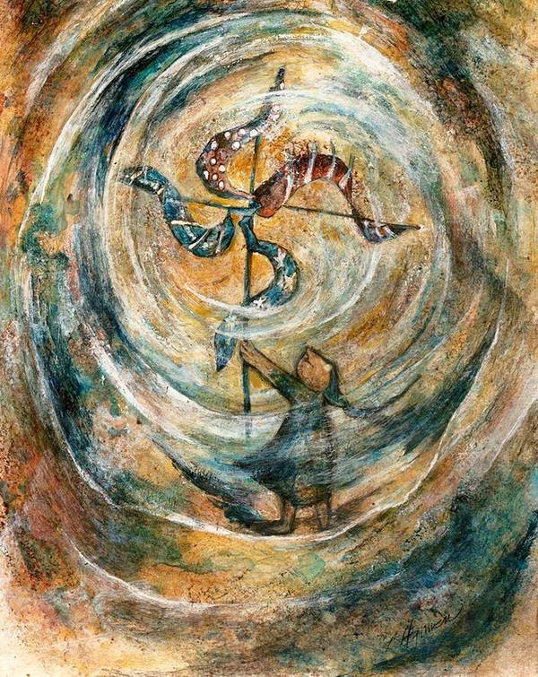 Pinwheel Art Print featuring the painting Whirlygig by Lily Hymen