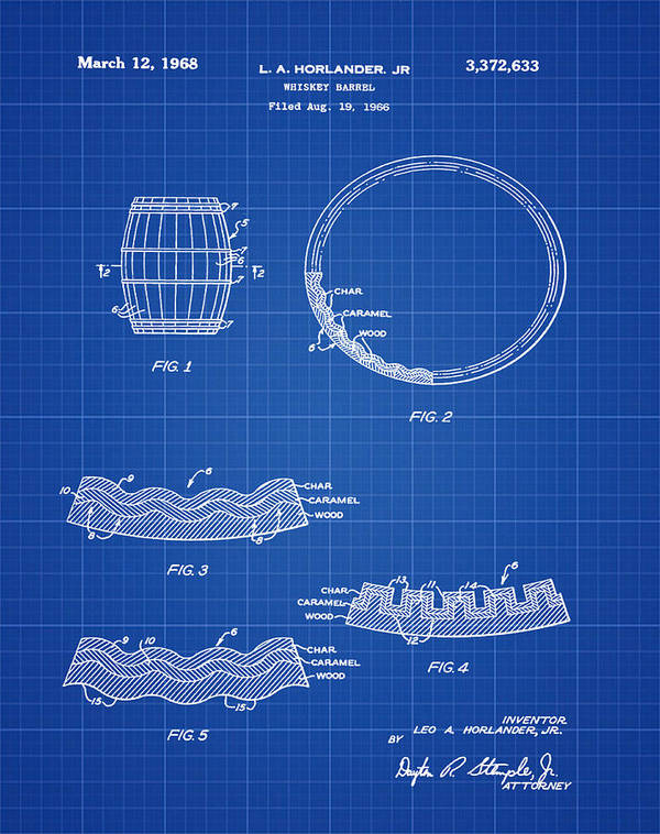 Whiskey Art Print featuring the photograph Whiskey Barrel Patent 1968 In Blue Print by Bill Cannon