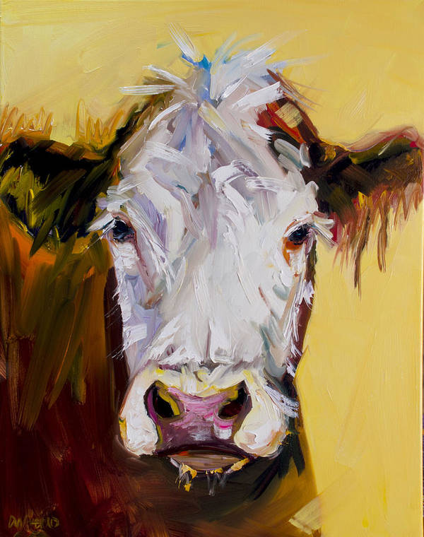 Cow Art Print featuring the painting White One by Diane Whitehead