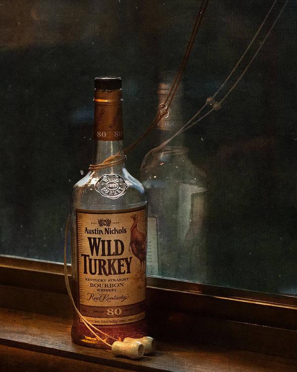 Liquor Art Print featuring the photograph Wild Turkey In Window by Brenda Bryant