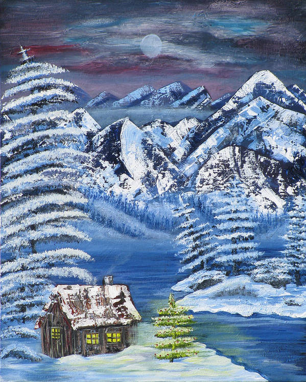 Snow Art Print featuring the painting Wilderness Christmas by Mikki Alhart