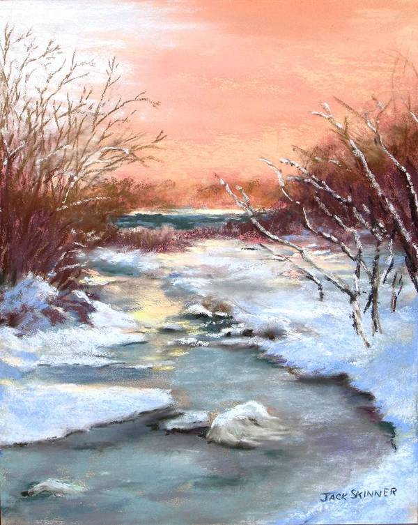 Winter Art Print featuring the painting Winter Brook by Jack Skinner