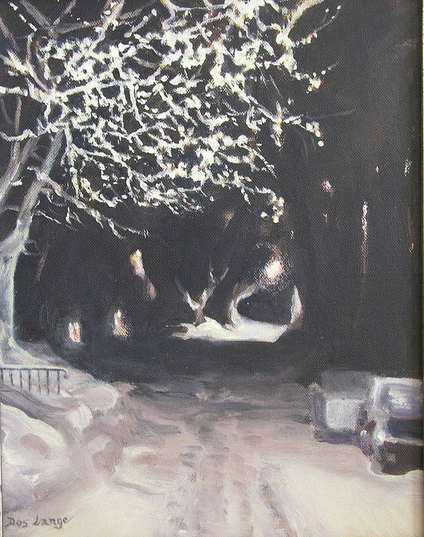 Snowy Night Art Print featuring the painting Winter Night by Donna Lange