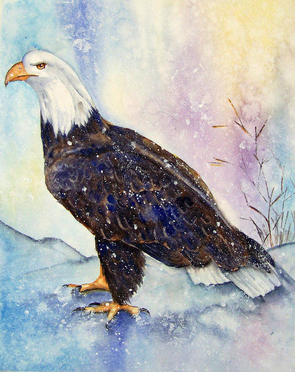 Eagle Art Print featuring the painting Winter Wonder by Gina Hall