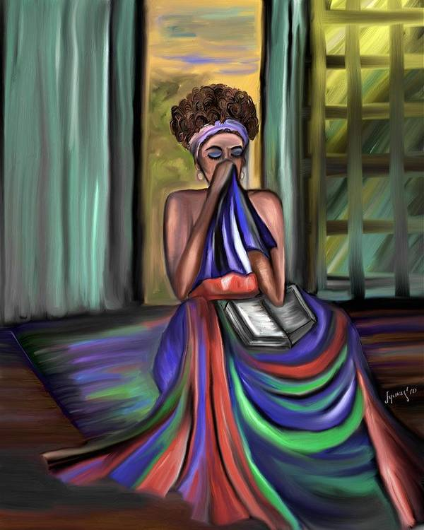 Woman Painting Art Print featuring the painting With Prayer Alone by Laura Fatta