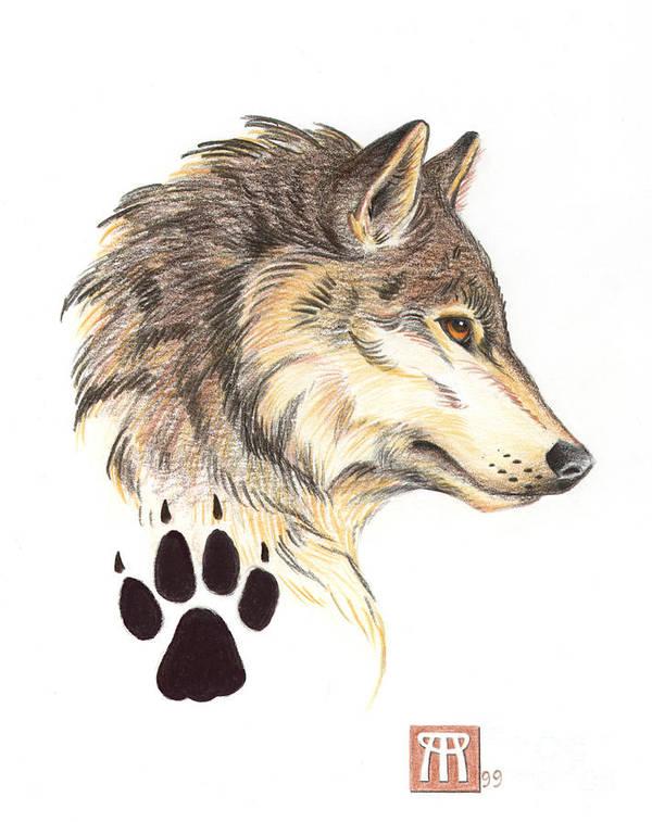 Wolf Head Profile Art Print By Melissa A Benson