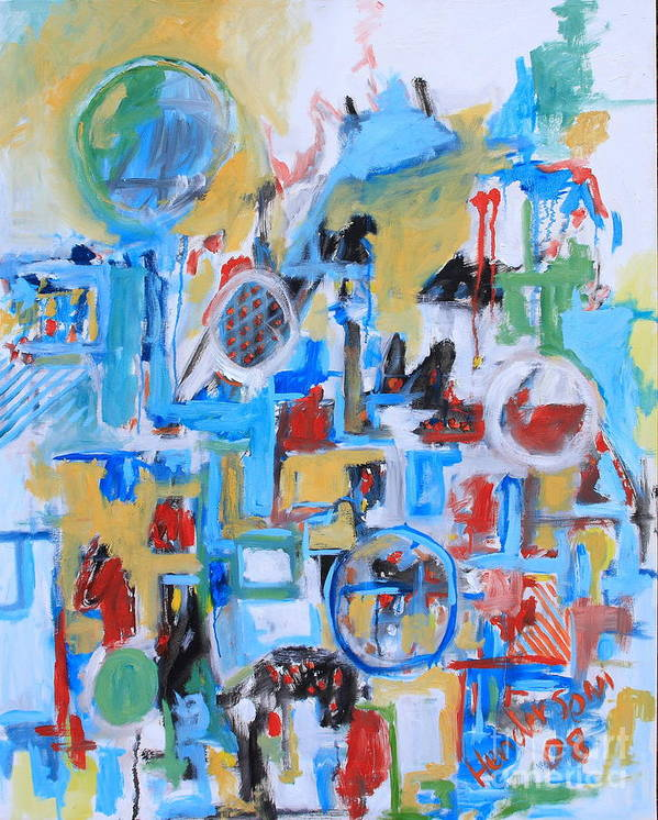 Abstract Art Print featuring the painting Woman In Blue by Michael Henderson