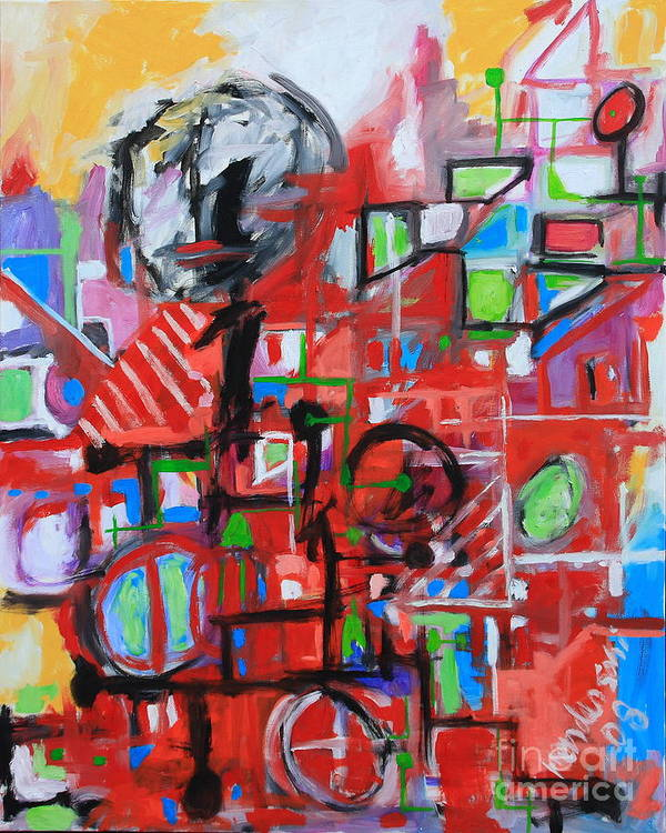 Abstract Art Print featuring the painting Woman In Red by Michael Henderson