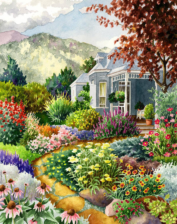 Colorado Garden Painting Art Print featuring the painting Xeriscape Garden by Anne Gifford