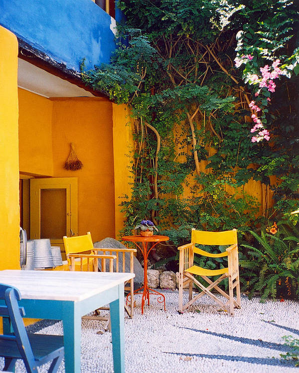 Rhodes Art Print featuring the photograph Yellow Chairs by Andrea Simon