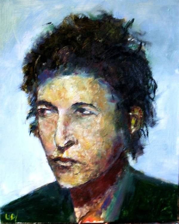 Musicians Bob Dylan Art Print featuring the painting Young Bob Dylan by Udi Peled