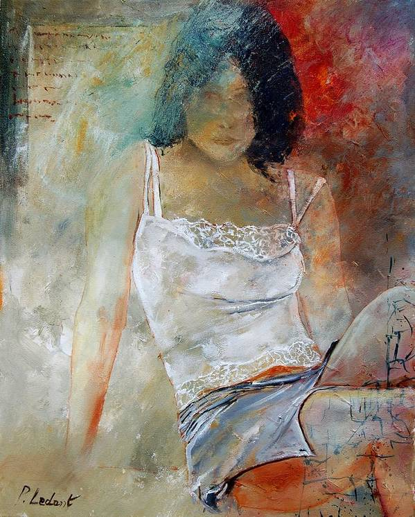 Nude Art Print featuring the painting Young Girl Sitting by Pol Ledent