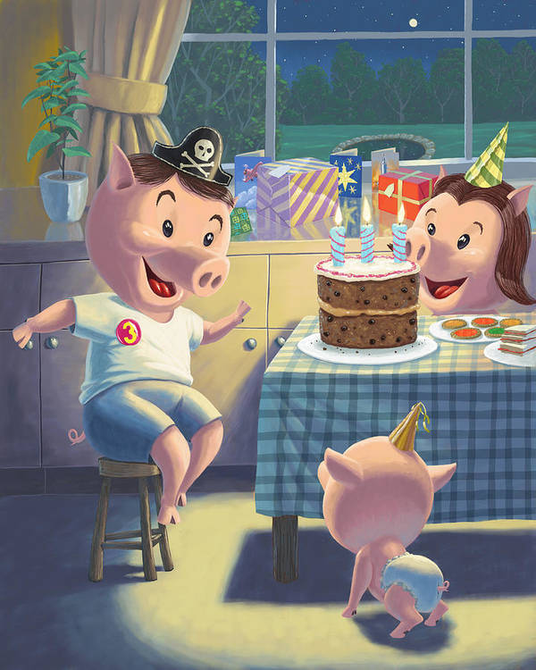 Pig Art Print featuring the painting Young Pig Birthday Party by Martin Davey