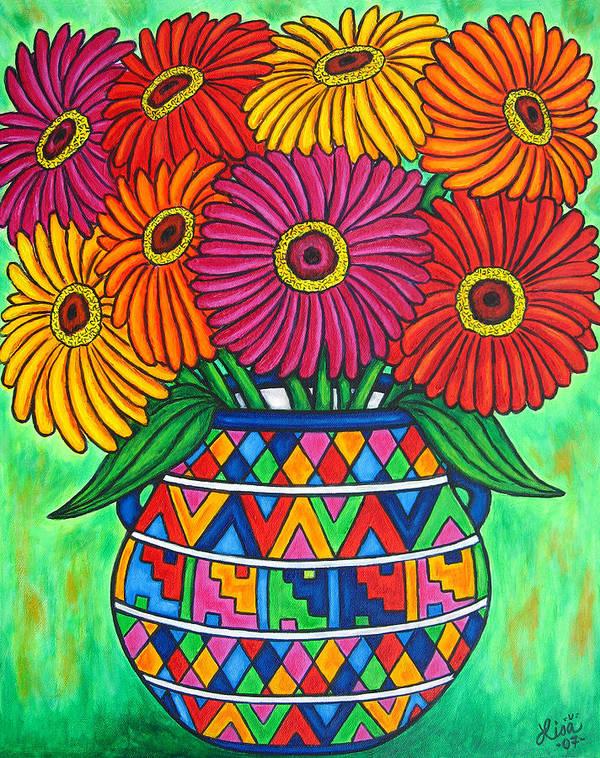Zinnia Art Print featuring the painting Zinnia Fiesta by Lisa Lorenz
