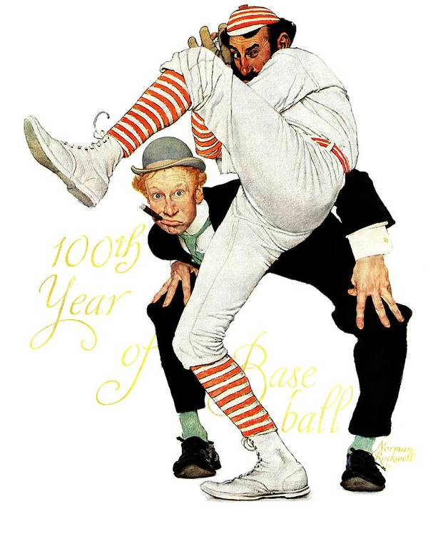 Anniversaries Art Print featuring the drawing 100th Anniversary Of Baseball by Norman Rockwell