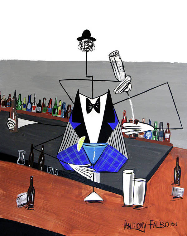 Whimsical Art Print featuring the photograph Artificial Intelligence Bartender by Anthony Falbo