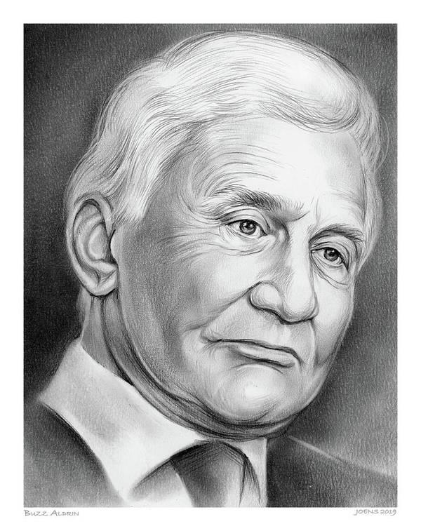 Astronaut Art Print featuring the drawing Astronaut Buzz Aldrin by Greg Joens