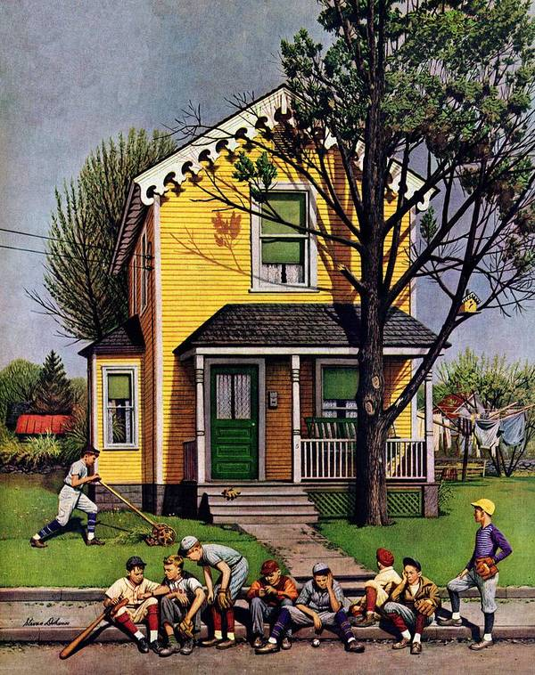 Baseball Art Print featuring the drawing Baseball Player Mowing The Lawn by Stevan Dohanos