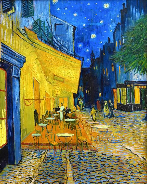 Vincent Van Gogh Art Print featuring the painting Cafe Terrace At Night - Digital Remastered Edition by Vincent van Gogh
