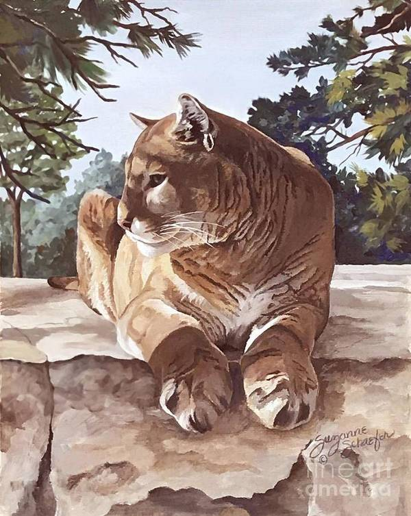 Cougar Art Print featuring the painting Cougar Outlook by Suzanne Schaefer