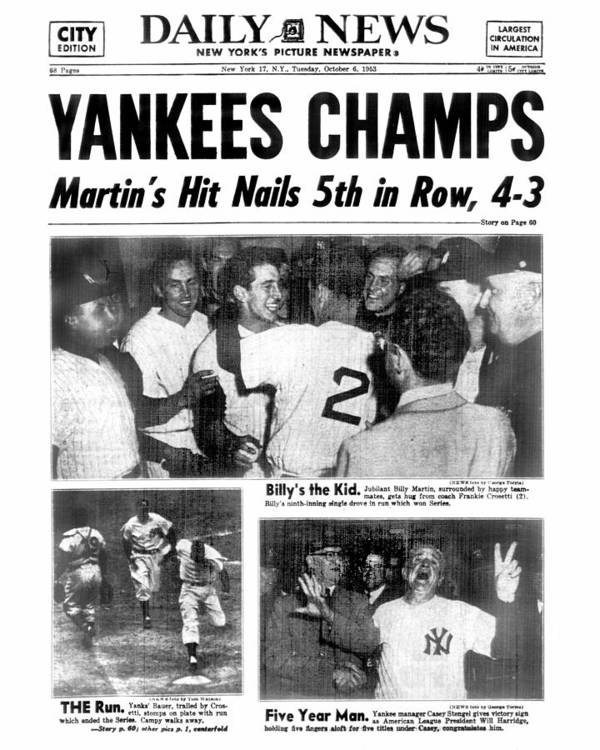 American League Baseball Art Print featuring the photograph Daily News Back Page Dated Oct. 6, 1953 by New York Daily News Archive