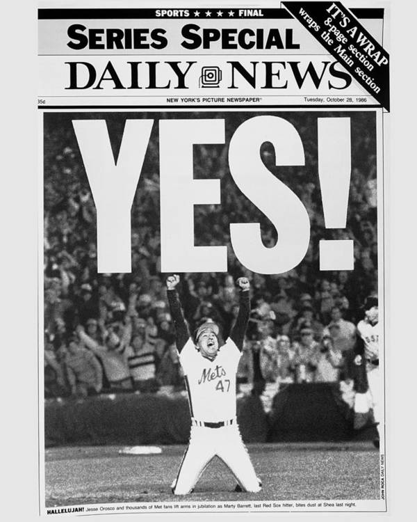 1980-1989 Art Print featuring the photograph Friont Page, Jesse Orosco And Thousands by New York Daily News Archive