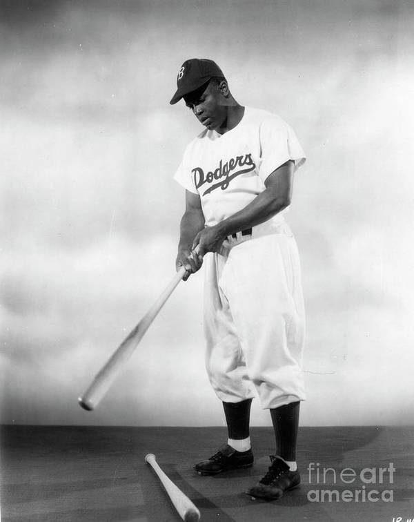 People Art Print featuring the photograph Jackie Robinson Full Figure Portrait by Transcendental Graphics