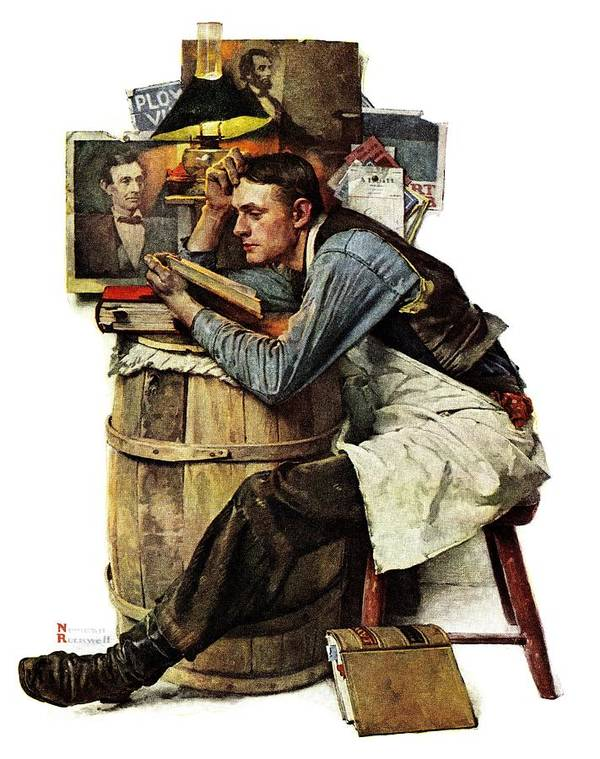 Books Art Print featuring the drawing Law Student by Norman Rockwell