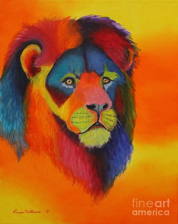 Lion Art Print featuring the painting Luminesent Lion by Louise Williams
