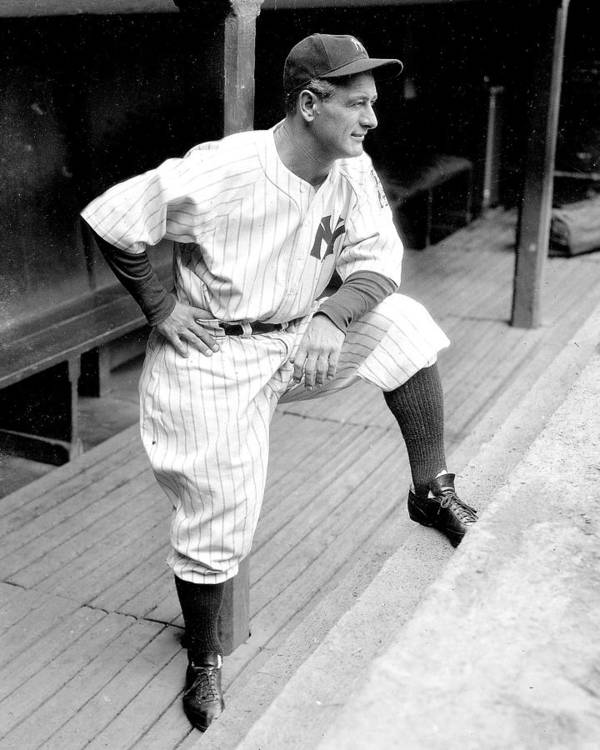 People Art Print featuring the photograph New York Yankees Lou Gehrig by New York Daily News Archive