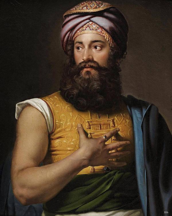 Portrait Of Giovanni Belzoni. 19th.century. Jan Adam Kruseman Art Print featuring the painting Portrait Of Giovanni Belzoni by MotionAge Designs