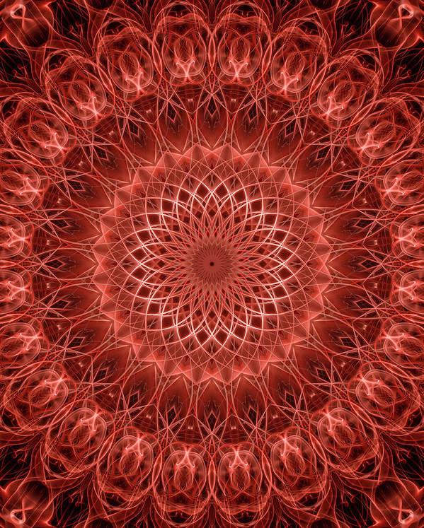 Mandala Art Print featuring the digital art Red Detailed Mandala by Jaroslaw Blaminsky