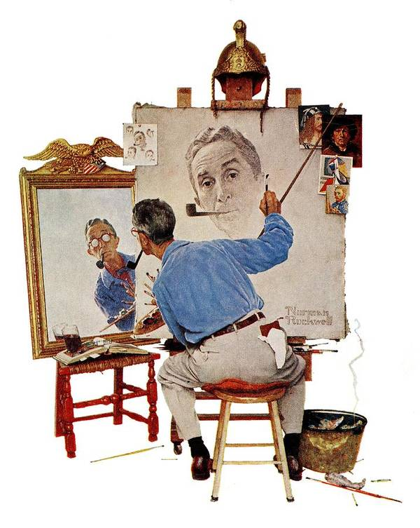 Artists Art Print featuring the drawing Triple Self-portrait by Norman Rockwell