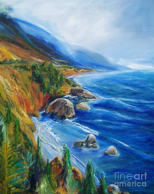 Seascapes Art Print featuring the painting Big Sur by Eric Schiabor